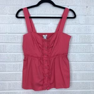 Anthropologie Odille Peasant Button Front Tank Top